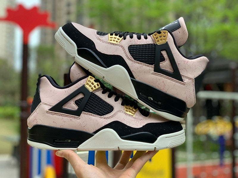 New pattern Jordan 4 retro woman Men basketball shoes sneakers Silt Red AJ4 Black Powder Marble Lovers shoes