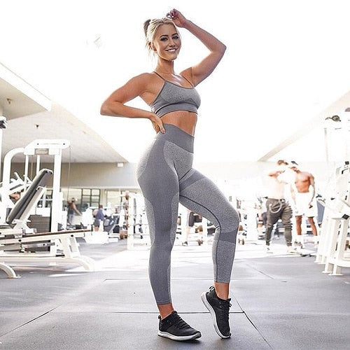New Gym 2 Piece Set Workout Clothes for Women Sports Bra and Leggings Set Sports Wear for Women Gym Clothing Athletic Yoga Set - cybershoestore.com