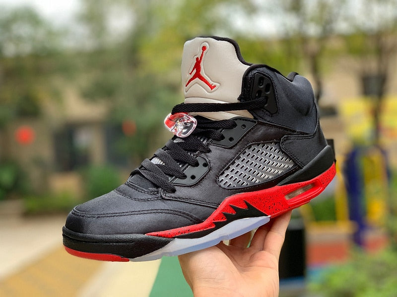 New Original Jordan 5 retro Men's shoes basketball shoes sneakers Satin Bred AJ5 Black Red Silk 3M Reflector 136027-006