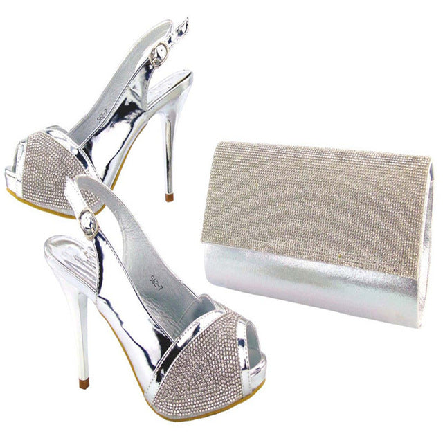 9d854e6270d9d ... Load image into Gallery viewer, Women New Hot Capputine Silver Shoes  And Purse Set Fashion ...