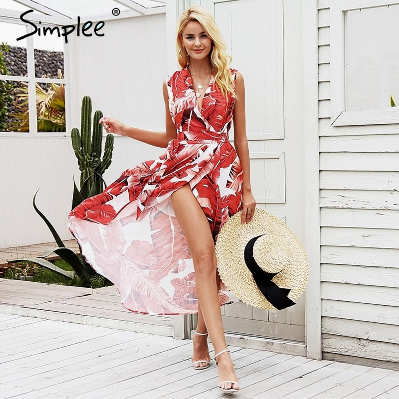 2952cfaed2233 Simplee Sexy v neck leaf print long dress summer Red high waist ...