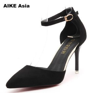 e3af8295f72ba0 Women Pumps Sexy High Heels Summer Suede Ladies Thick Heel Ankle Strap Open  Toe Peep Toe