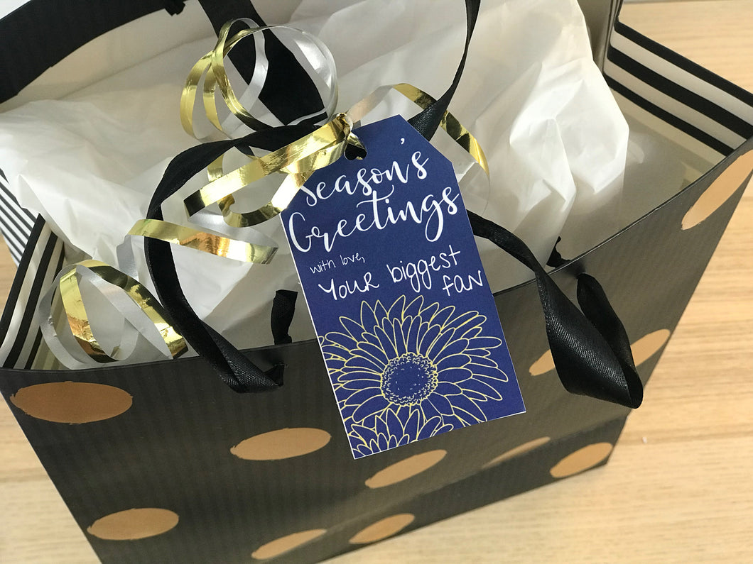 Personalized Christmas Gift Tag - Blue with Gold Flower