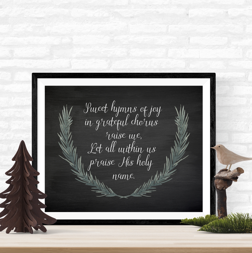 sweet hymns of joy Christmas printable art in four sizes