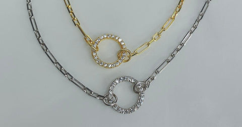 Open circle bracelet with cz's, with a chain in vermeil over sterling silver or sterling silver.