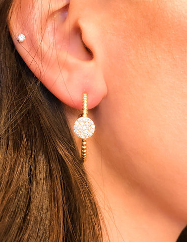 Hoop earring with vermeil over silver.  Earring also has a round piece with cz's.