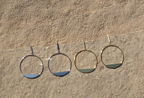 Hoop and bar earring with a post back closure.   Earrings are sterling silver or vermeil over sterling silver.