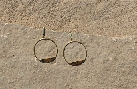 Hoop and bar earring with a post back closure.   Earrings are vermeil over sterling silver.