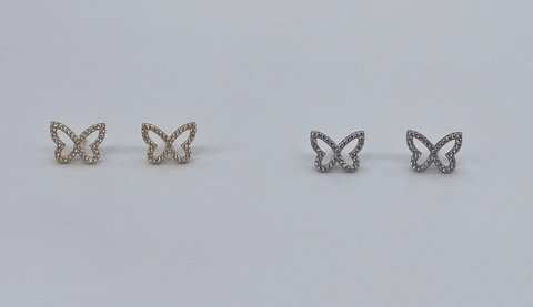 Open winged butterfly earrings surrounded by cz's.  Earrings come in sterling silver or vermeil over sterling silver.