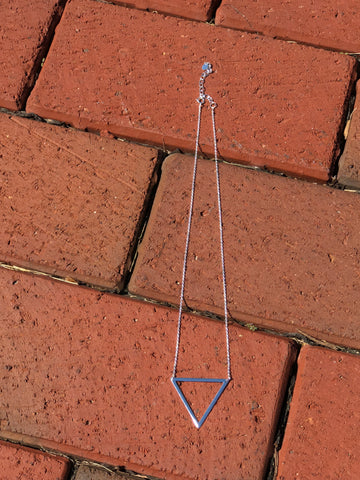 16 inch with extender open triangle necklace.   The necklace is sterling silver.