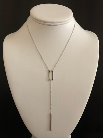 Y Necklace with rectangle and dagger.   Necklace is sterling silver.