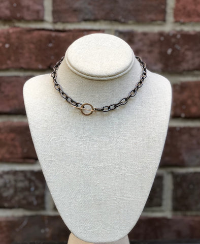 This link necklace is a handmade Gunmetal Rhodium over copper metal with a Toggle Clasp.