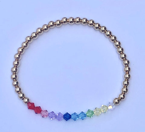 4mm beaded bracelet with rainbow ombre colored Swarovski crystals, 14k gold filled beaded bracelet.