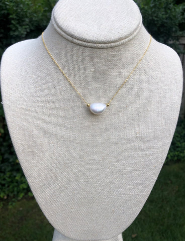 vermeil oSingle threaded Freshwater pearl necklace.   Chain is vermeil over sterling silver.