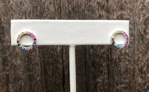 Rainbow cubic zirconia open circle stud earrings.  Earrings are vermeil over sterling silver.