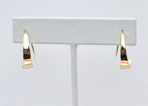 These hoop earrings are diagonal shaped.  Earrings are vermeil over sterling silver.