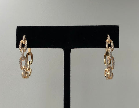 Chain link vermeil over sterling silver hoop earrings.  Chain has clear pave cz's.