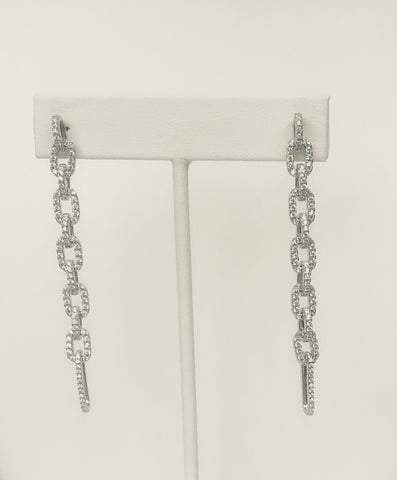 Phoebe Hanging Chain With CZ Earrings