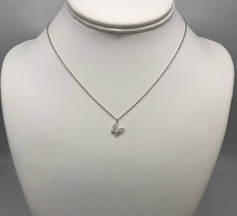 Sterling silver butterfly necklace.    butterfly charm has cubic zirconias.