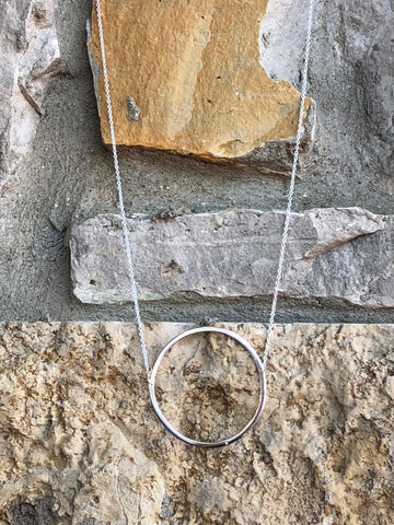 16 inch with extender open circle necklace.  The necklace is sterling silver.