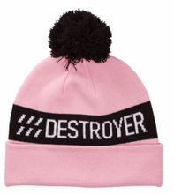 Pom Pom Beanie Camo, Dusty Pink, Red and Black