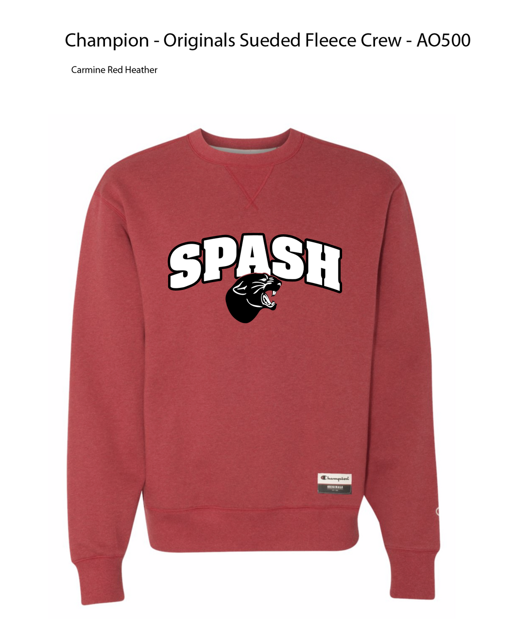 Red SPASH Champion Crew Neck Throw back