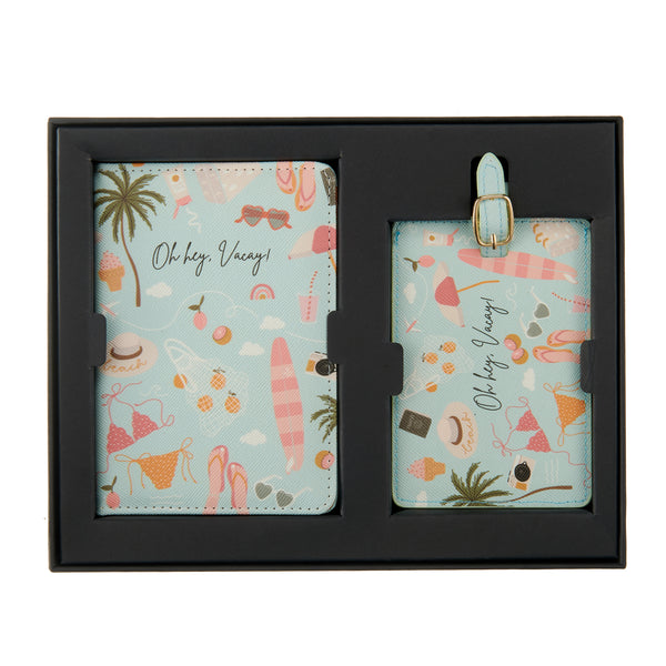 Oh hey, vacay! Passport cover + luggage label - giftbox