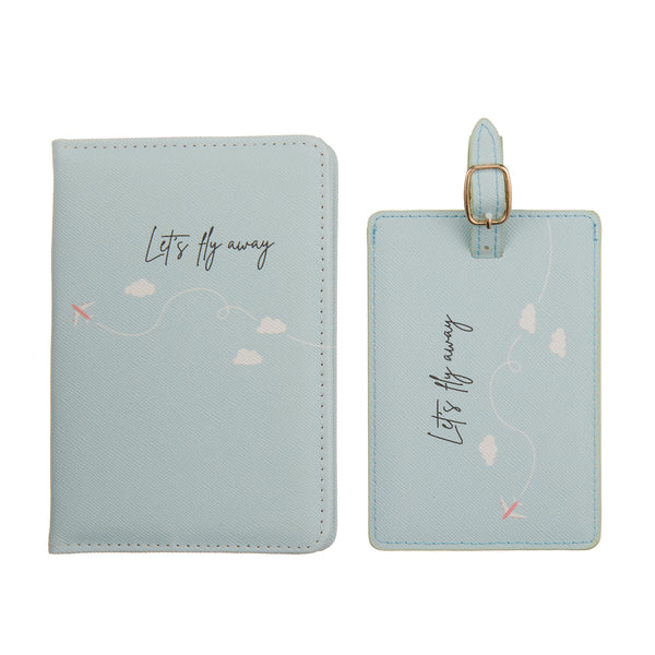 Let's fly away Passport cover & luggage label - giftbox