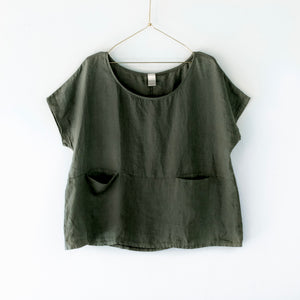 European Linen double pocket top - Khaki