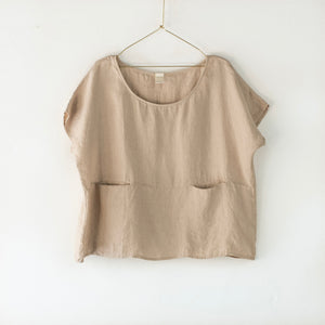 European Linen double pocket top - Natural