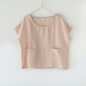 European Linen double pocket top - Rose