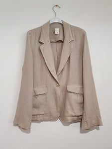 Saint-Cloud relaxed fit linen blazer with raw seams