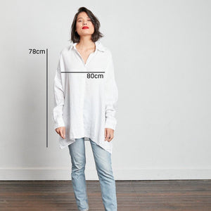 Linen Boyfriend Shirt Sizing: 80cm across bust, 78cm shoulder to hem.