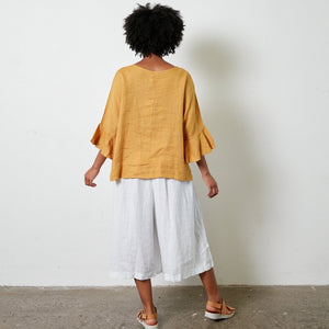 Montaigne linen flared sleeve top with ruffled sleeves