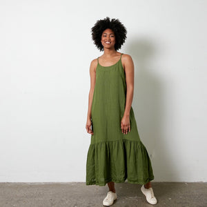 Longline Linen maxi dress with frayed edge