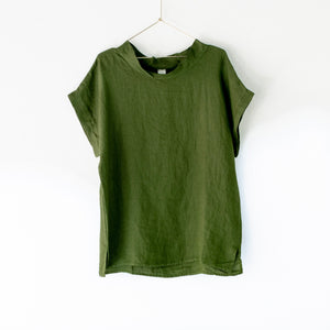 Montaigne European Linen cowl neck top - Forest Green