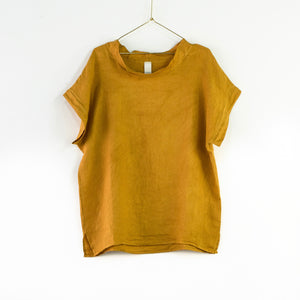 Montaigne European Linen cowl neck top - Mustard