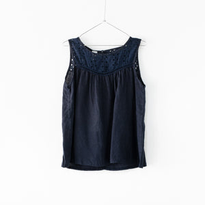 French Navy dark blue sleeveless linen blouse with broderie Anglaise detail