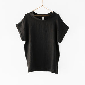 Montaigne European Linen cowl neck top - Black