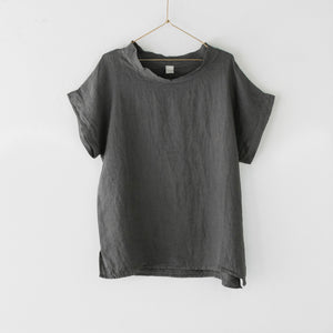 Montaigne European Linen cowl neck top - Petrol