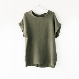 Montaigne European Linen cowl neck top - Khaki