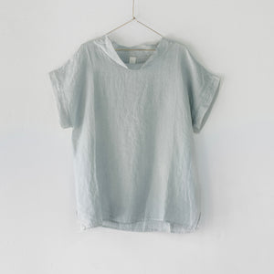 Montaigne European Linen cowl neck top - Silver