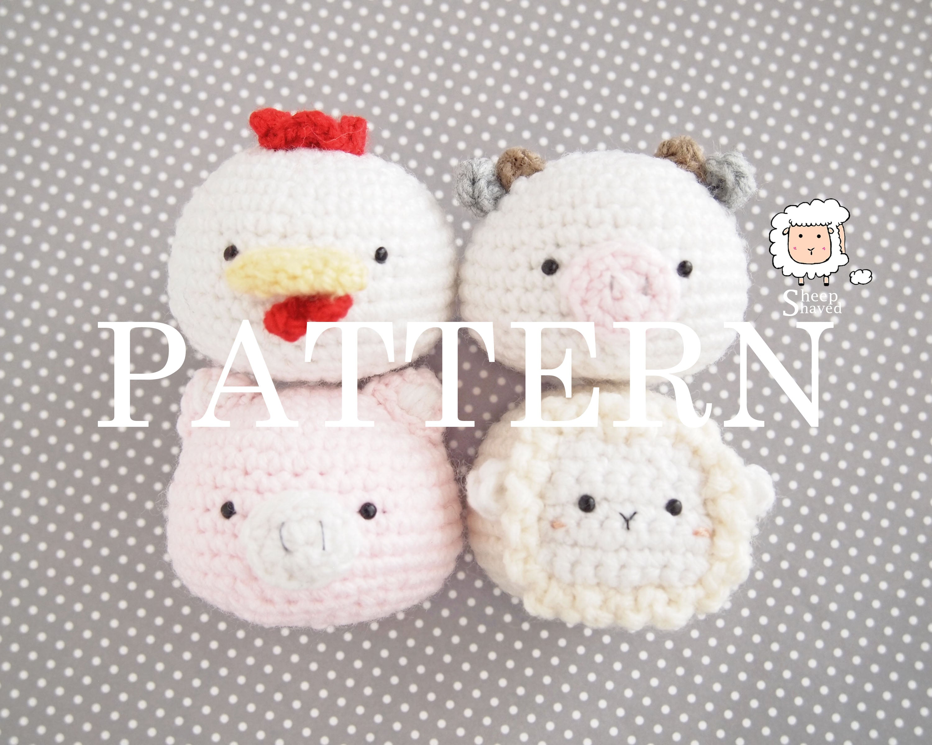 Animal Friends: Farm Edition PDF PATTERN (Chicken, Cow, Pig, and Sheep)