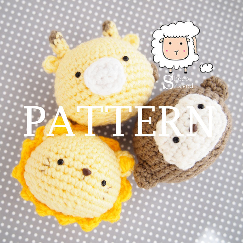 Animal Friends: Safari Edition PDF PATTERN (Giraffe, Lion, and Monkey)