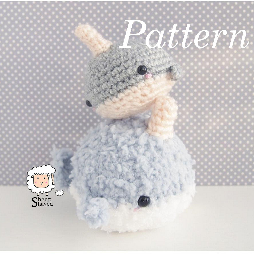 Cute Amigurumi Narwhal with spiral horn or Whale crochet pattern ... | 1000x1000