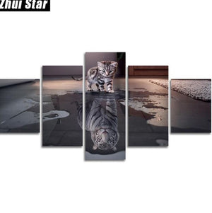 Zhui Star 5d Diy Full Square Diamond Painting Cat Tiger Multi Picture Combination - coolelectronicstore.com