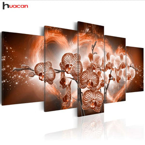 Huacan 5d Diy Diamond Embroidery Orchid Flower Diamond Painting Cross Stitch - coolelectronicstore.com