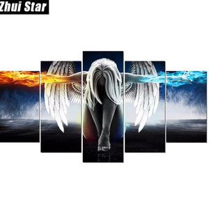 Full Square Diamond 5d Diy Diamond Painting 5pcs Angel with Wings Embroidery - coolelectronicstore.com