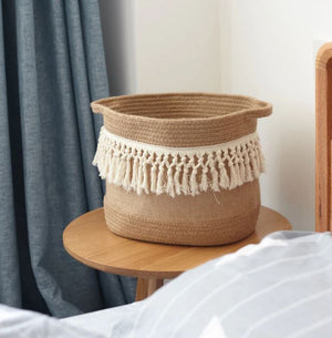 Hemp Rope Knitting Dirty Clothes Basket Clothes Underwear Storage Basket Toy New - coolelectronicstore.com