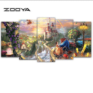 Zooya 5d Diy Diamond Embroidery Beauty Beast 5pcs Multi Picture Combination - coolelectronicstore.com
